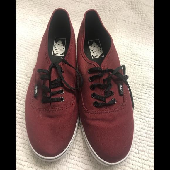 burgundy vans shoes black lace